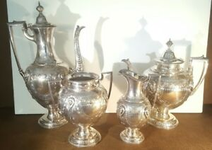 Unusual Figural Medallion 4 Piece Tea Service Silverplate Hand Chased Victorian
