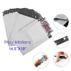 100 4000 Gray 14 5x19 Size Plastic Shipping Bags Poly Mailers Package Envelopes
