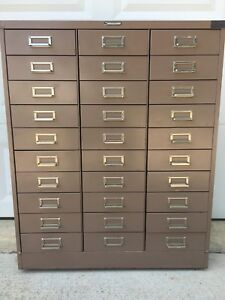 Vintage Steelmaster Metal File Cabinet Apothecary Jewelry Art Chest 30 Drawers