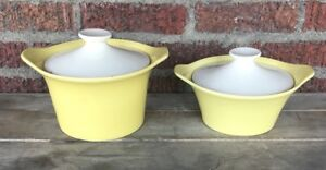 2 Vintage Mid Century Modern Yellow Cream Stoneware Covered Casserole Dishes Lid