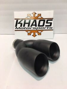 Dual 3 5 Double Wall Exhaust Tips Slant 2 5 Id Black