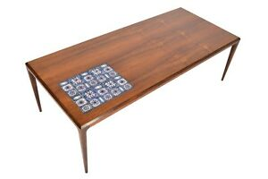 Danish Modern Mid Century Johannes Andersen Rosewood Coffee Table With Tile