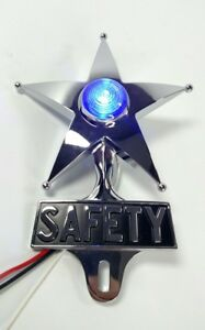 Safety Star License Plate Topper Dual Function Blue Led Vtg Car Accessory