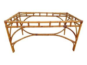 Vintage Italian Rattan Bamboo Dining Table Base Palm Beach Mid Century Coastal