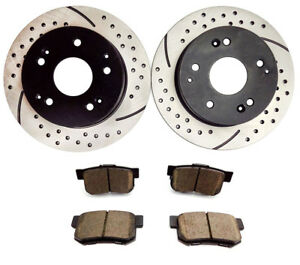 2004 2005 Honda Civic Si 2 0l Rear Brake Rotors And Ceramic Pads Brake Kit 10003