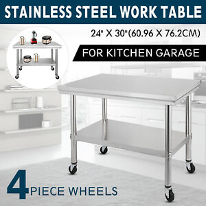 30 x24 Stainless Steel Kitchen Work Table W Shelf And 4 Wheels