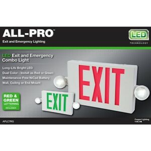 All pro Led Hardwired Exit Sign Emergency Light 2 Color Red green