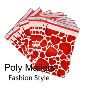 100 2000 Pcs 10x13 Poly Mailers Red Heart Creative Shipping Bags Usps Ups Fedex