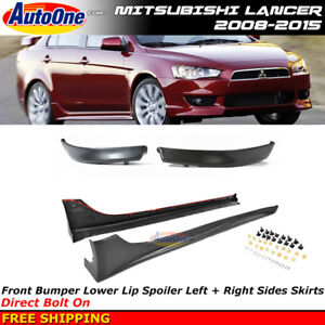Front Lip Spoiler Air Dam Side Skirts Rally Style For 08 15 Mitsubishi Lancer