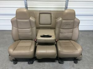 1999 2010 Ford F250 F350 F450 Super Duty Tan Leather Front Rear Seats