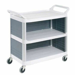 Rubbermaid 4093 Plastic Utility Cart With 3 Shelves Closed Ends