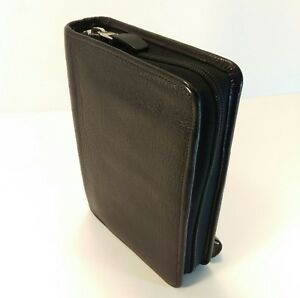 Franklin Covey Quest Pocket Top Grain Verona Leather Black Zipper Planner Binder