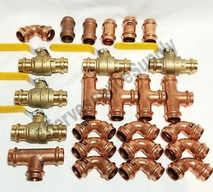 lot Of 25 2 Propress Copper Fittings tees Elbows Coupling Press Ball Valves