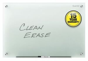 Gloss finish Glass Dry Erase Board Wall Mounted 24 h X 36 w Frosted White