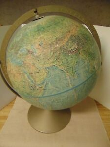 Vtg Replogle Land And Sea World Globe 12 Relief Dia Dual Axis Metal Base Ussr