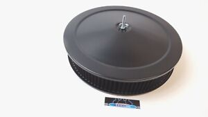14 Round Black Air Cleaner Assembly Kit Drop Base 3 Washable Filter Hot Rod