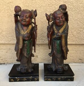 Antique Chinese Carved Wood Statues Hehe Erxian Twins Unity Harmony Immortal