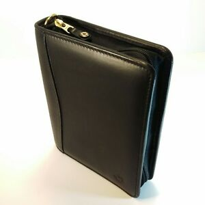 Franklin Covey Black Nappa Leather Compact Zipper Planner Binder Organizer