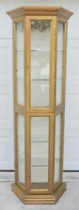 Antique Vtg Octagon Gold Wood Glass Lighted Curio China Cabinet Display Case