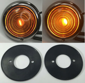 Pair Amber Glass Parking Light Assembly For Ford 1947 48 Cars 1942 47 Trucks
