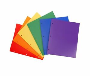 Stemsfx Heavy Duty Plastic 2 Pocket Folder Hole Punched pack Of 6 Folders As