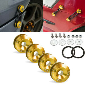 4x Gold Jdm Quick Release Fasteners For Car Bumpers Trunk Fender Hatch Lids Kit