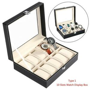 10 Slots Watch Box Display Case Organizer 1 2 3 5pcs Glass Jewelry Storage Box