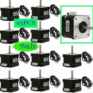 25x Nema 17 Stepper Motor 76 Oz in 4 lead 3d Printer Cnc 1 8 200 Steps Us Gd