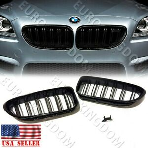 For 11 18 Bmw F06 640i 650i M6 Gran Coupe Gloss Black Grill Front Kidney Grille