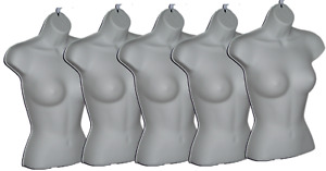 Qty 5 Woman Torso Display Hollow Half Mannequin Hanging Female Short Form White