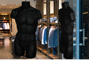 Qty 2 Man Torso Hanging Display Hollow Half Mannequin Male Long Form Black