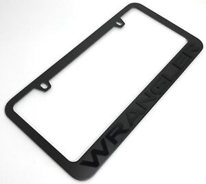 Black License Plate Frame For Jeep Wrangler matte Black Letters Emblem