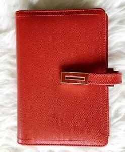128 Coach 6 Ring Binder Agenda Planner Red Full Grain Leather Small 6 X 4 Inch