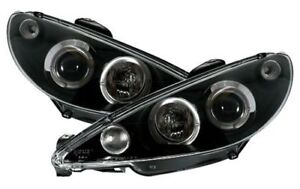 Clear Chrome H7 Headlights Front Lights With Angel Eyes Halo For Peugeot 206