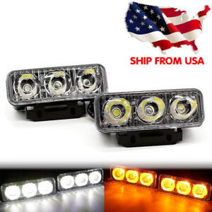 Car Daytime Running Light 2pcs 3 Led White Drl Amber Turn Signal Front Fog Lamp