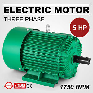 Electric Motor 5 Hp 3 Phase 1750 Rpm 1 125 Shaft 60 Hz Outdoors Waterproof