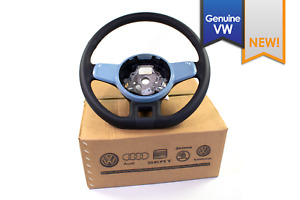 Genuine Vw Beetle Black Leather Flat Bottom Steering Wheel Blue Trim Split Spoke