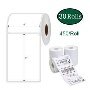 30 Rolls 450 Direct Thermal Shipping Labels 4x6 Barcode Zebra 2844 Zp450 Eltron