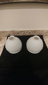 Vintage Pair Art Deco Milk Glass Raised Design Light Fixture Ceiling Shades