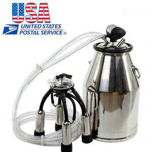 usa 25l Portable Cow Milker Bucket Tank Milking Machine 304 Stainless Steel