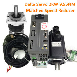 Delta Cnc 2kw Ac Servo Motor 9 55nm Driver speed Reducer Matched 4 1 100 1 Ratio