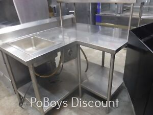Corner Stainless Work Table W Food Warmer Single Steam Table Drop In Over Shelf