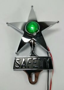 Safety Star License Plate Topper Dual Function Green Led Vtg Car Accessory