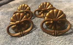 Vintage Brass Drop Handle Drawer Pulls Handles Set Of 4