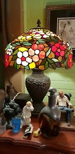 Vintage Large Leaded Glass Lamp Multicolored Floral Shade Bronze Base W Daisies