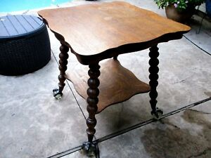 Antique Quartersawn Oak Claw Foot End Table