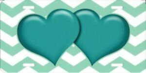 Teal Hearts On Chevron Metal License Plate
