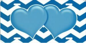 Blue Hearts On Chevron Metal License Plate T1859