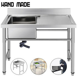 Commercial Stainless Steel Kitchen Utility Sink W Drainboard 39 Wide Handmade