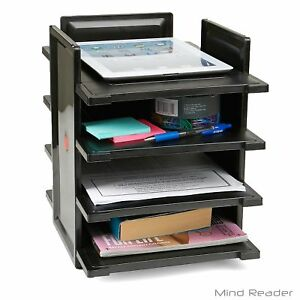4 Tier Work Desk Paper Organiser Desktop Document Tray Storage Shelf Tidy Black